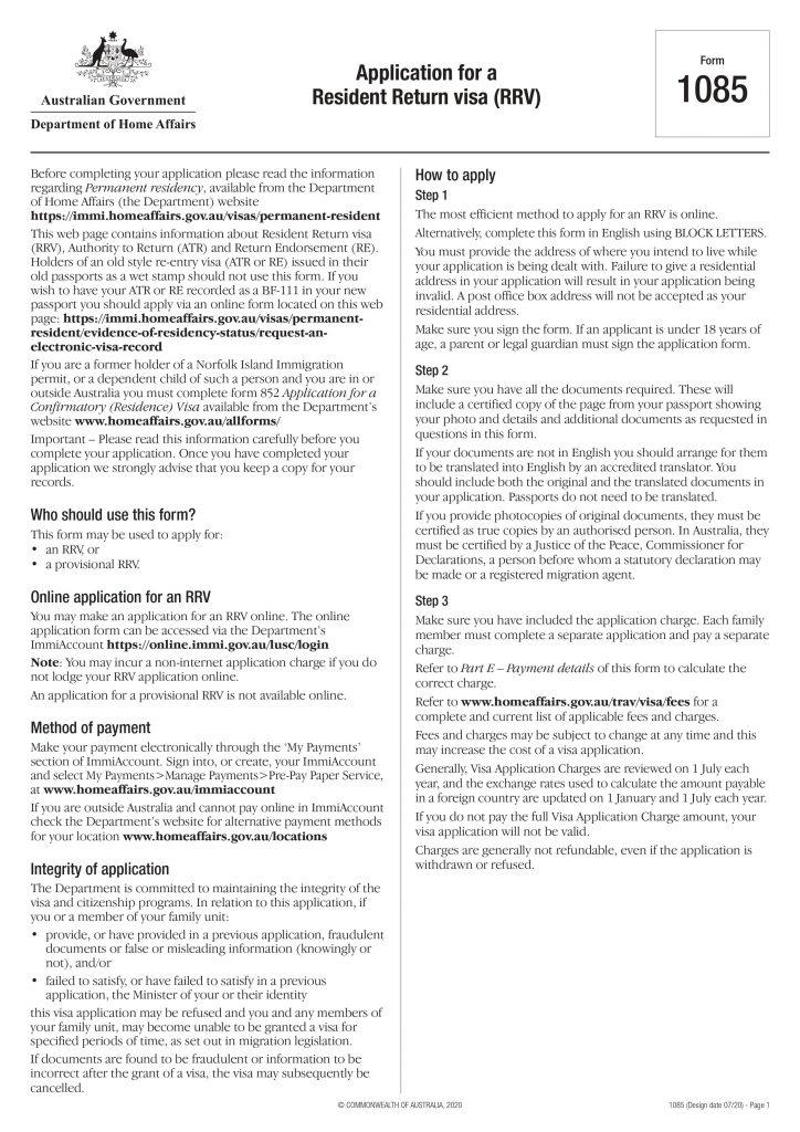 Resident Return Visa Application Form Page 2