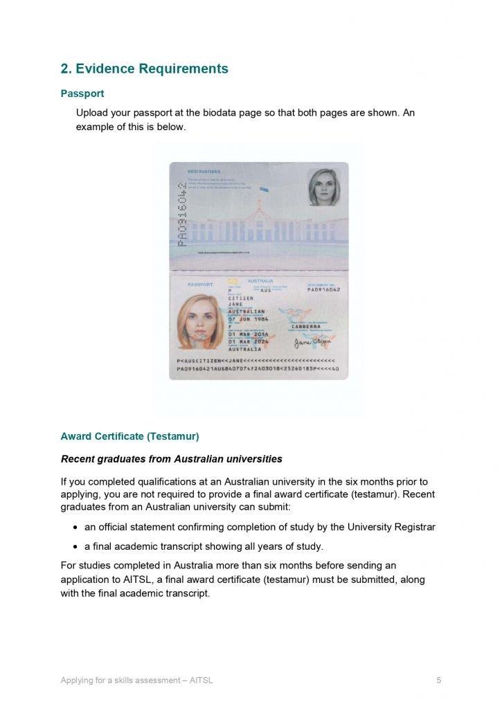 AITSL Passport Requirement