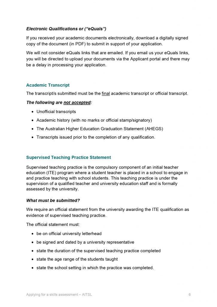 AITSL Transcript Criteria